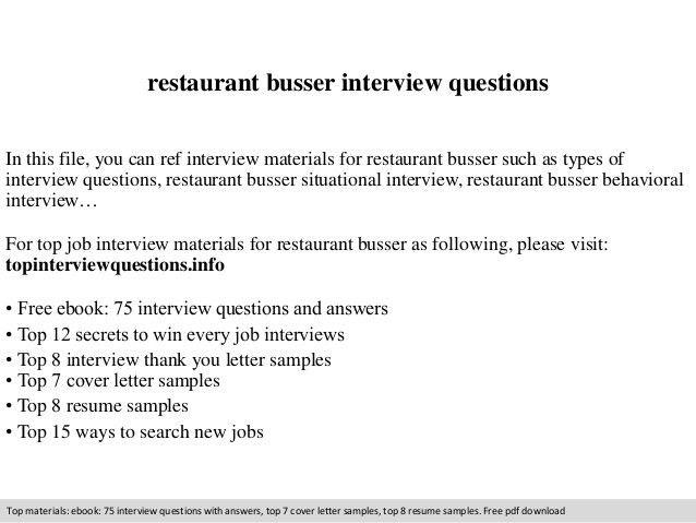 busser resume restaurant busser job resume restaurant busser