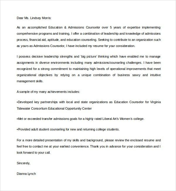 admission counselor cover letters