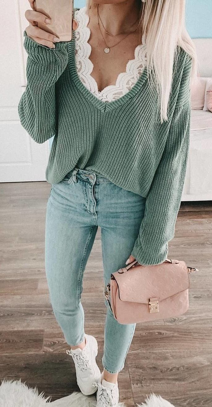 gray V-neck sweater #spring #outfits
