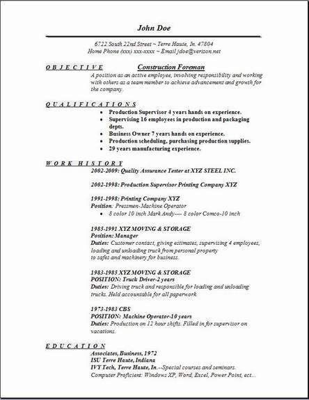 Construction Resume Example - Examples of Resumes
