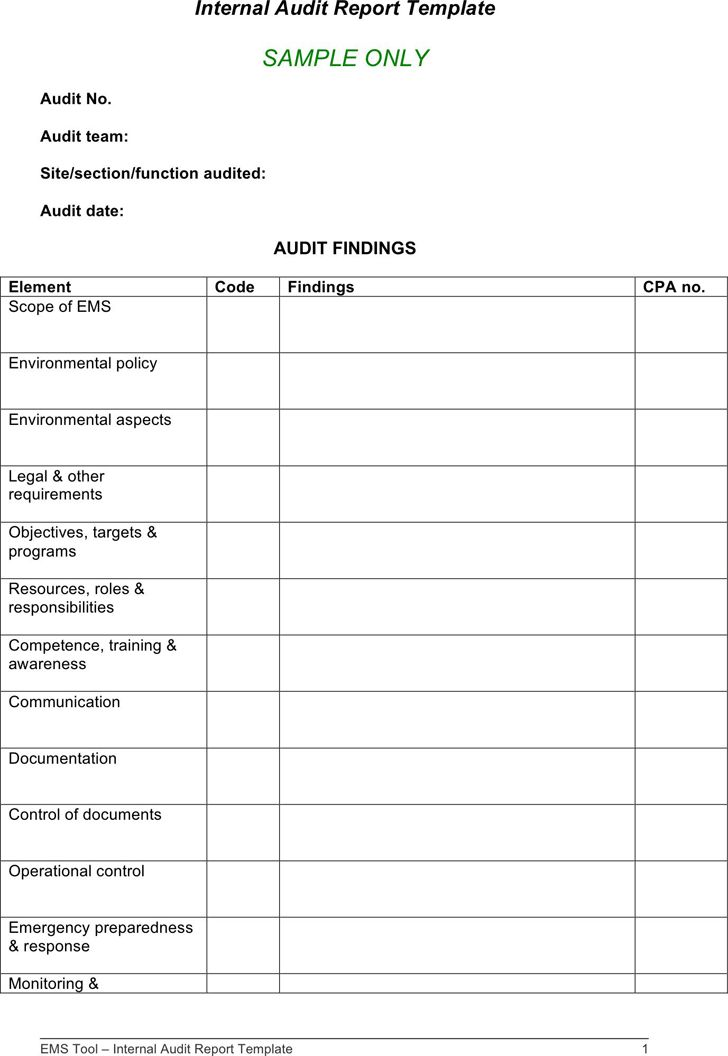 Audit Findings Template 14 Internal Audit Report Templates Free - internal audit report