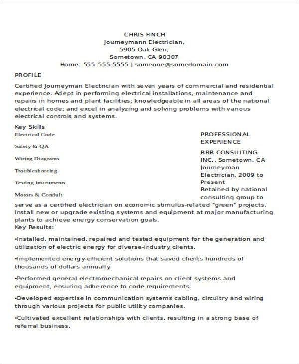Journeyman Electrician Resume Sample Unforgettable Journeymen - electrician resume template