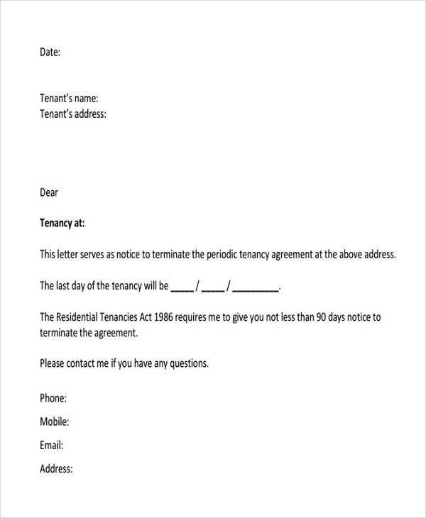 termination letter for tenant from landlord