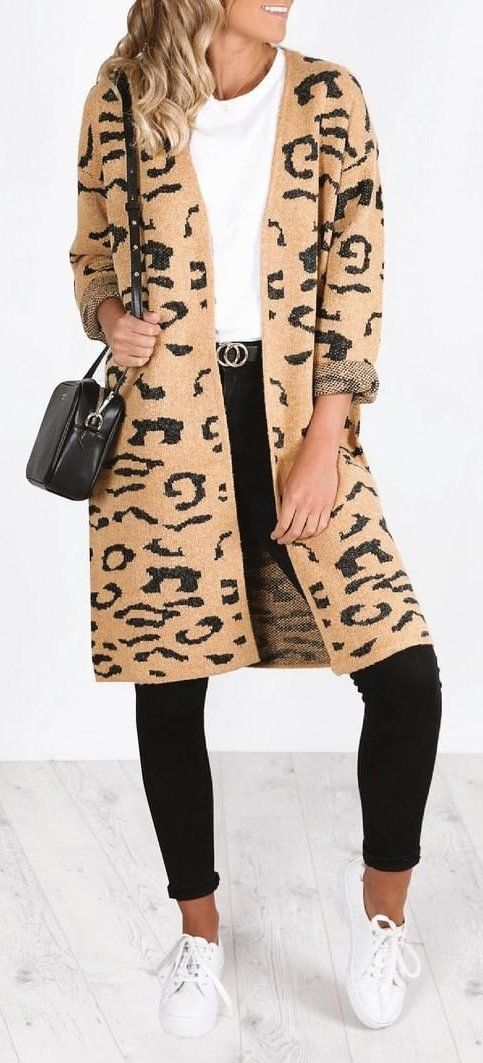 brown and black leopard print coat #summer #outfits