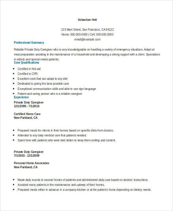Resume Samples For Caregiver Unforgettable Caregiver Resume