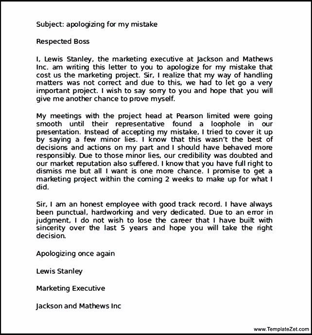 Apologize Letter For Mistake Apology Letter For Mistake 8 - formal apology letters