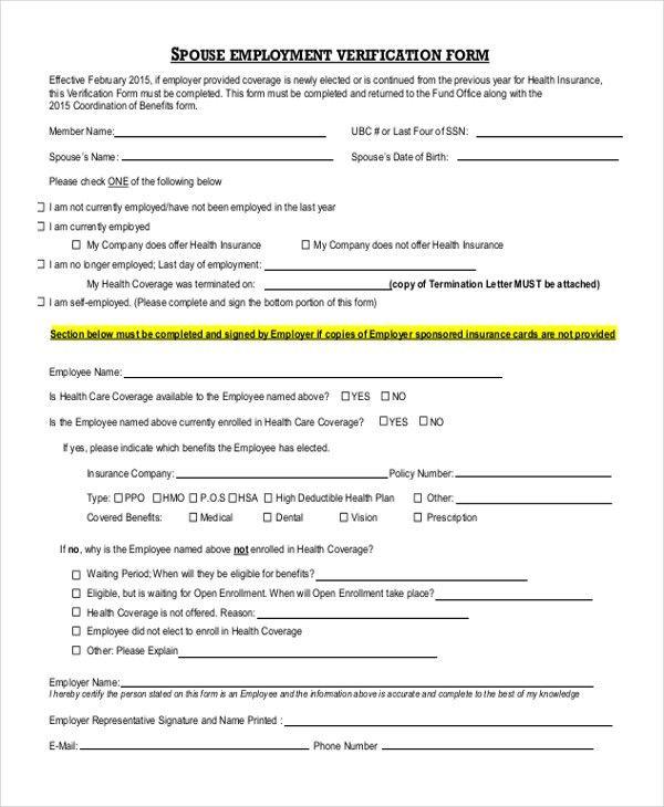 Prior Employment Verification Form Sample Employment Verification - verification form