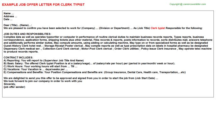Clerk Typist Cover Letter Examples | Cover Letter