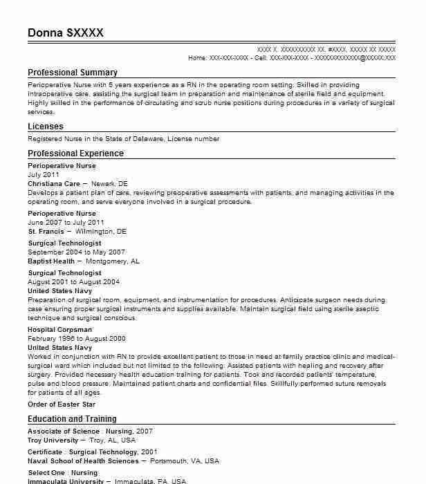 Perioperative Assistant Sample Resume Unforgettable Perioperative - perioperative assistant sample resume