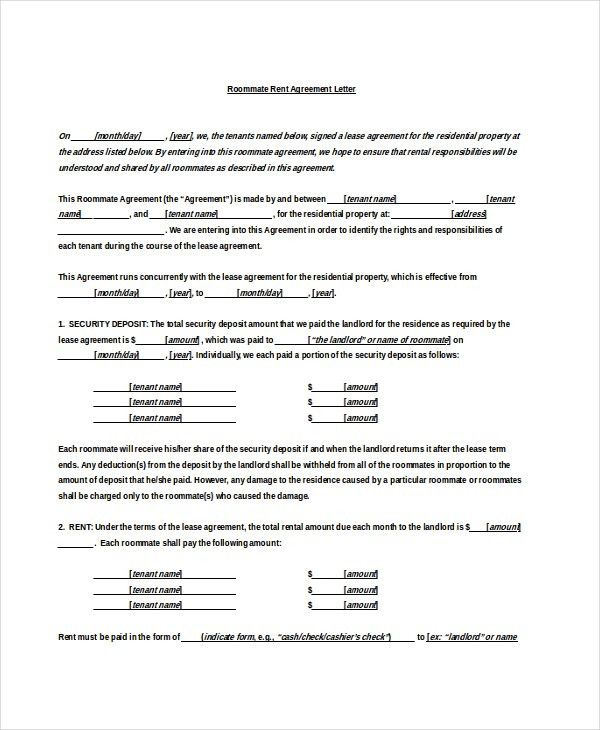 Sample Rental Agreement Word Document Ms Word Rental Agreement - roommate rental agreement