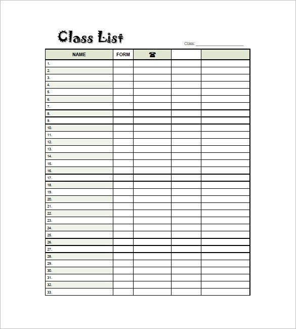 Classroom List Template Class List Template 15 Free Word Excel - free roster templates