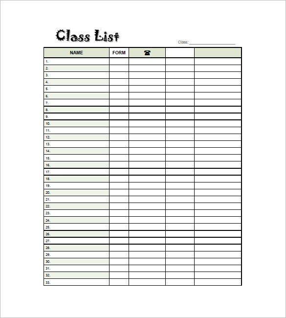 classroom list template lukex - classroom list template