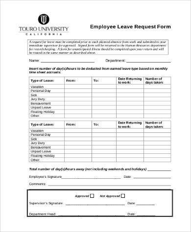 Leave Request Template Sample Leave Authorization Form 5 Free - example of leave form