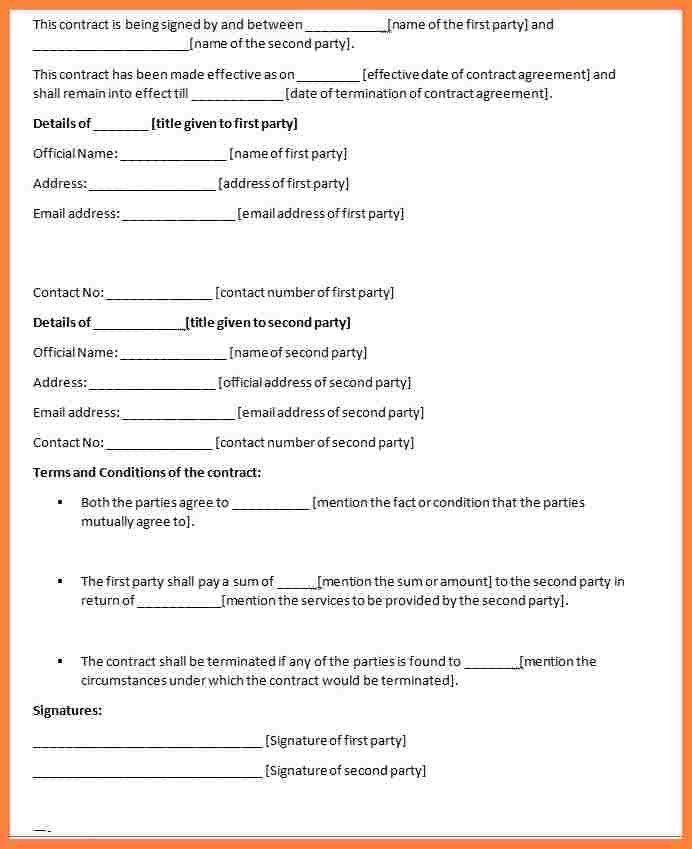 Draft Agreement Between Two Parties Sample Contract Agreement 43 - contract agreement format