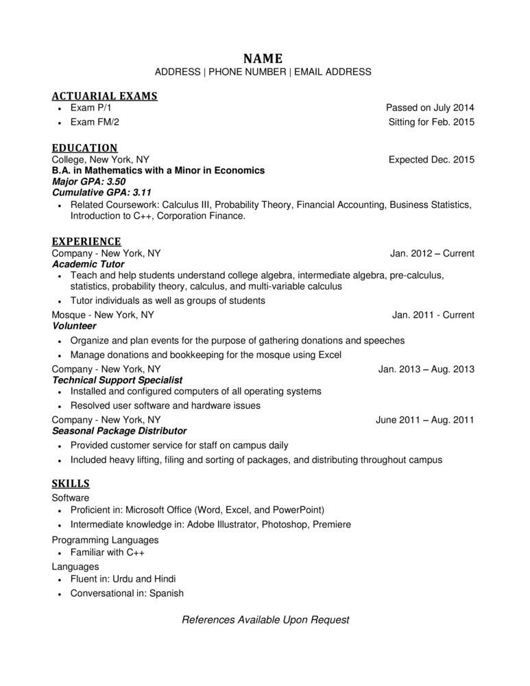 actuarial assistant sample resume