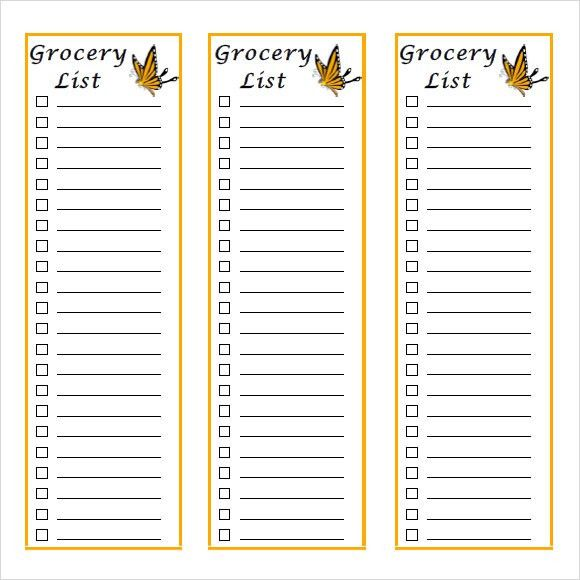 Grocery List Template Free Printable Grocery List And Shopping - grocery list sample