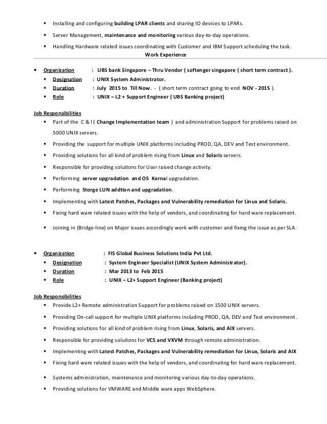 unix system engineer sample resume