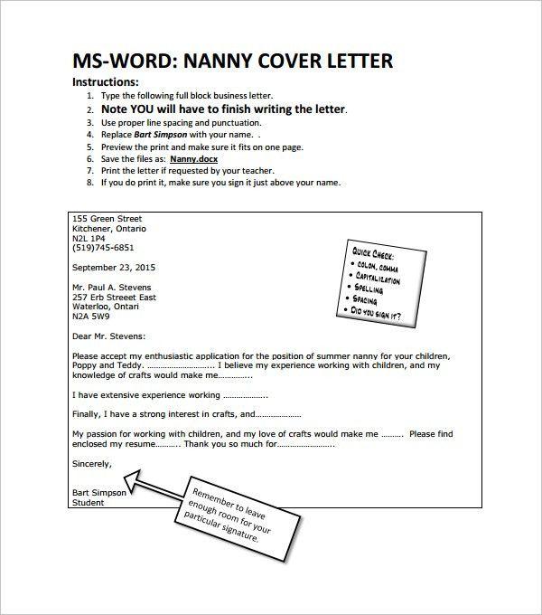 Cover Letter Sample Nanny Position To Regarding Resume For 21