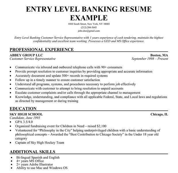 Entry Level Resume Objective Examples - Examples of Resumes - banking resume objective statement