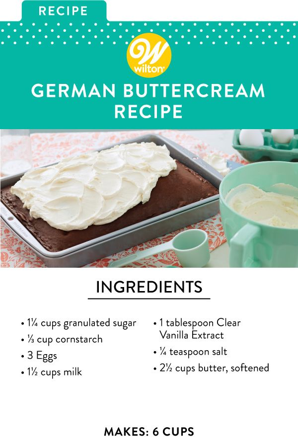 Light yet decadent, this German Buttercream is the perfect topping to your favorite chocolate cake recipe. Made by combining custard and butter, this frosting is similar in taste and texture to a whipped cream icing. Though it does require some extra work, it will be well worth it in the end! This German Buttercream is also less sweet than traditional frostings, making it a nice alternative to those who enjoy less sugary icing. #wiltoncakes #cakes #frosting #buttercream #germanfrosting #recipes
