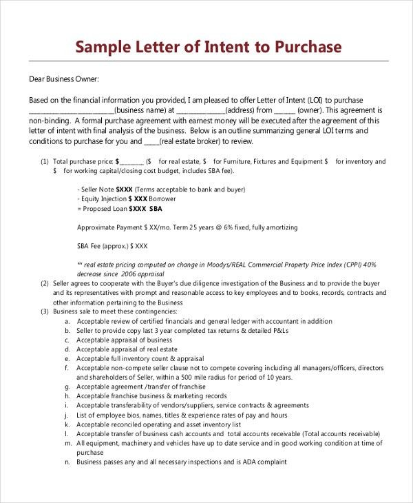 Loi Template] Letter Intent Template Free Word Templates Free