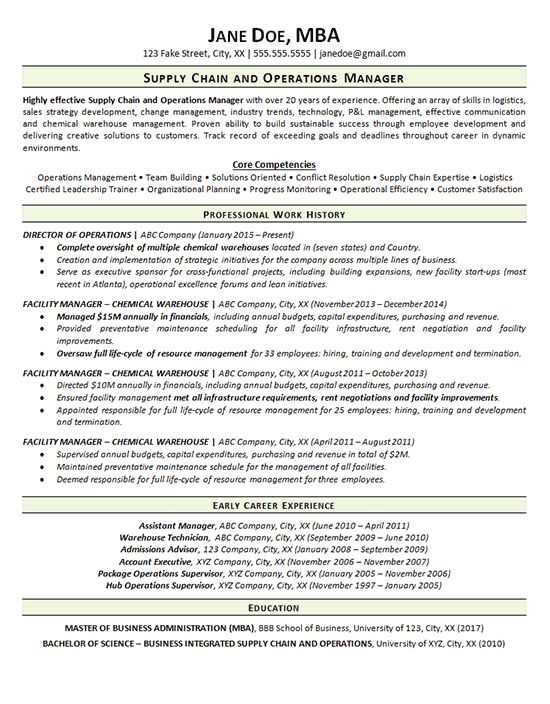 Supply Chain Resume Example   Operations Manager  Supply Chain Manager Resume
