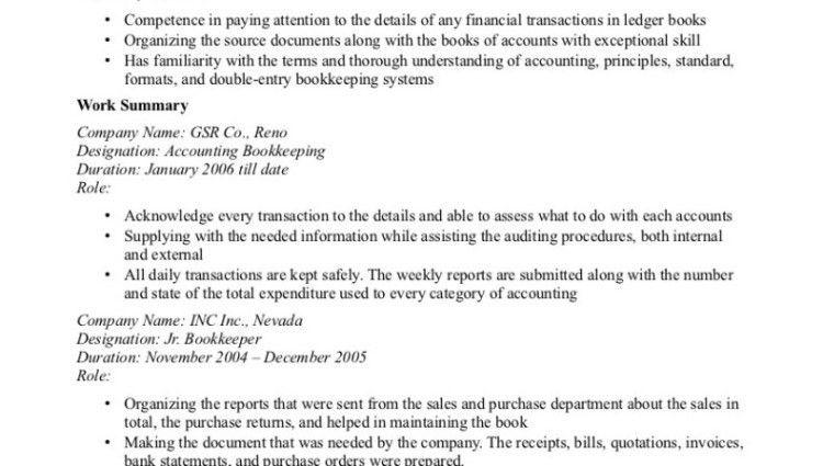bookkeeper resumes resume cv cover letter