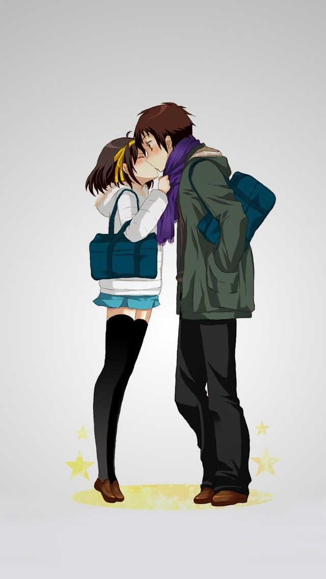 ↑↑TAP AND GET THE FREE APP! Art Creative Anime Asia Cartoon Couple Love Kiss HD iPhone Wallpaper