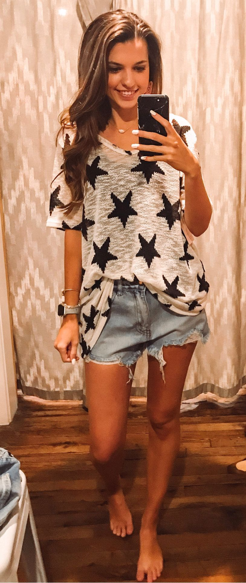 grey star print blouse #summer #outfits