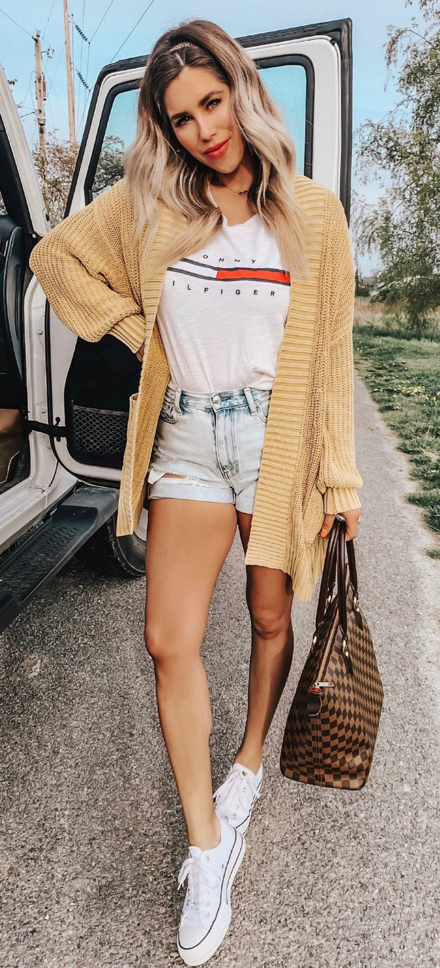 brown open cardigan #summer #outfits