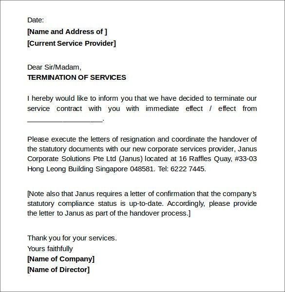 letter to terminate a contract