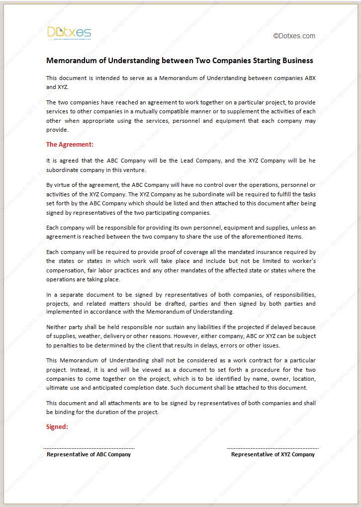 Memorandum Of Understanding Template Memorandum Of Understanding - subordination agreement template
