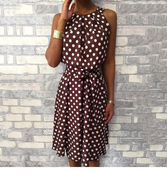 Brown dress with white polka dots