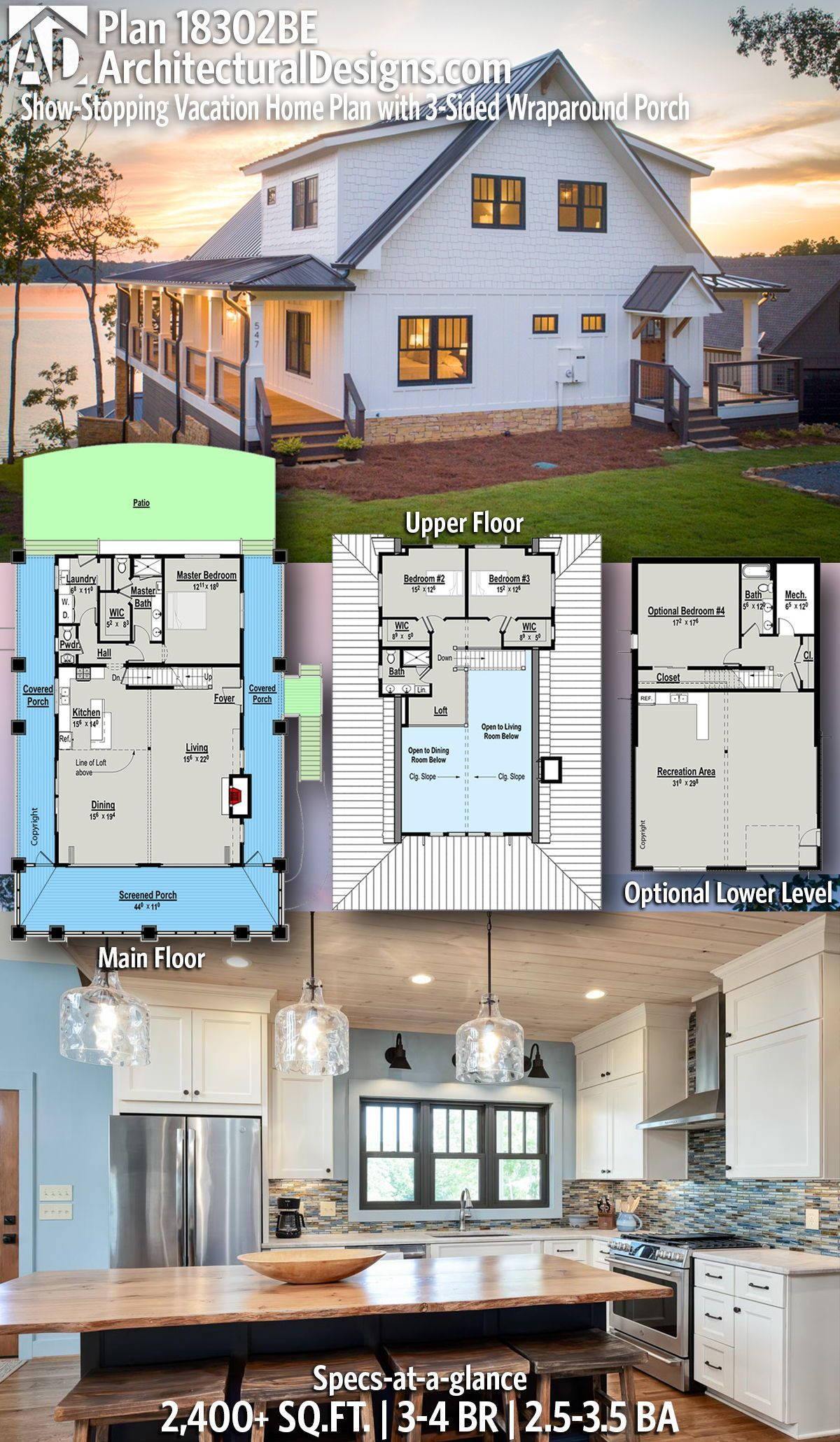 Plan 18302BE: Show-Stopping Vacation Home Plan with 3-Sided Wraparound Porch