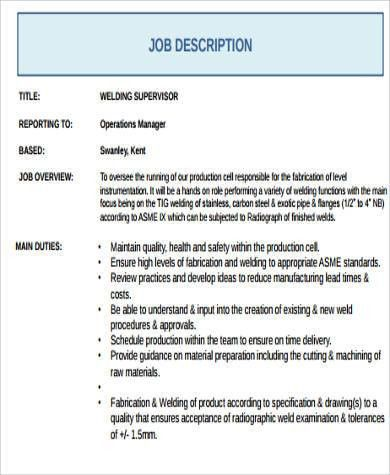 production supervisor job description | node2001-cvresume ...