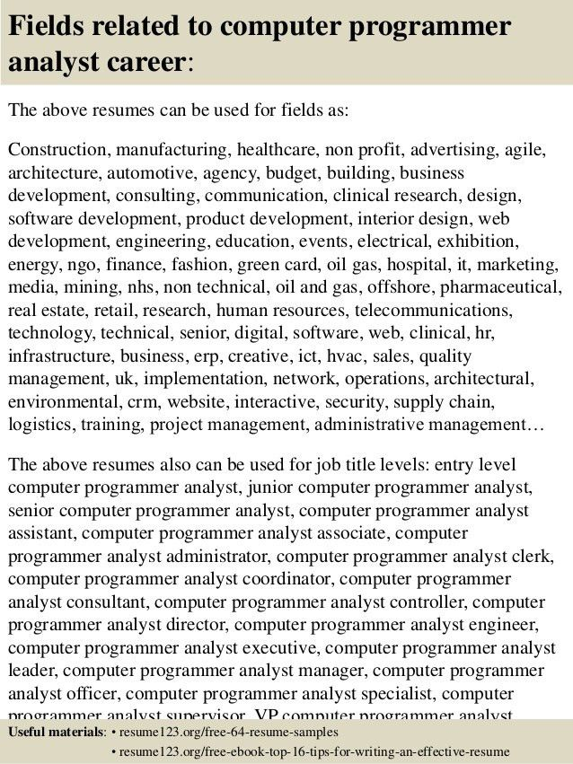 programmer analyst job description