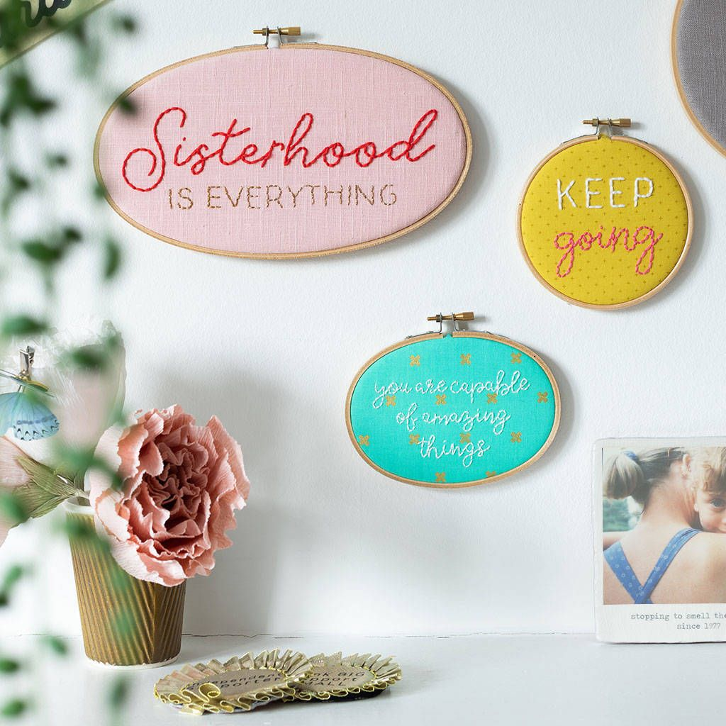 'Sisterhood And Co' Embroidery Hoop Sign Trio