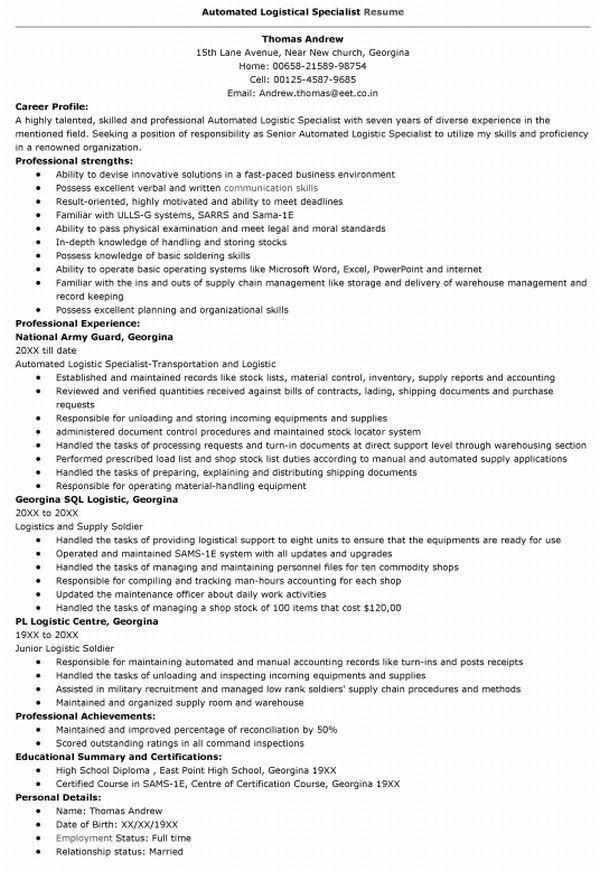 ... Logistics Specialist Job Description Plainresume   Automated Logistic  Specialist Resume ...