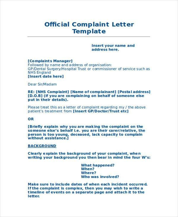 Complaint letter examples resume templateasprovider proper complaint letter format a letter of complaint example complaint letter examples spiritdancerdesigns Images