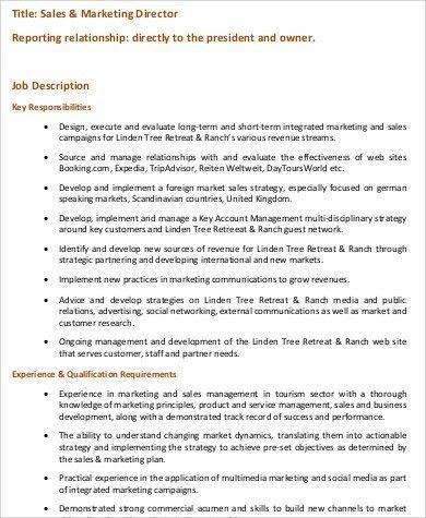 International Marketing Director Job Description 11 Marketing - hr director job description