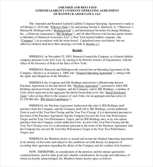 Operating Agreement Template Llc Operating Agreement Sample - sample contract amendment template
