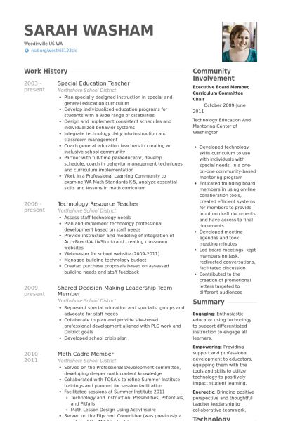 Sample Technology Teacher Resume. Computer Teacher Resume Example