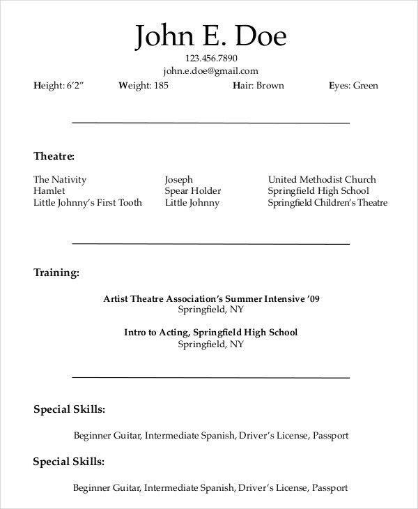beginner actor resume sample