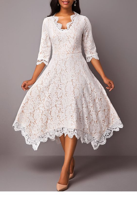 Asymmetric white lace dress design