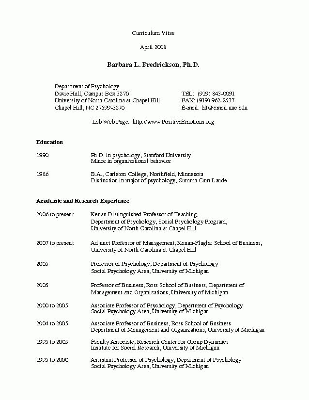 Psychology Resume Examples - Examples of Resumes