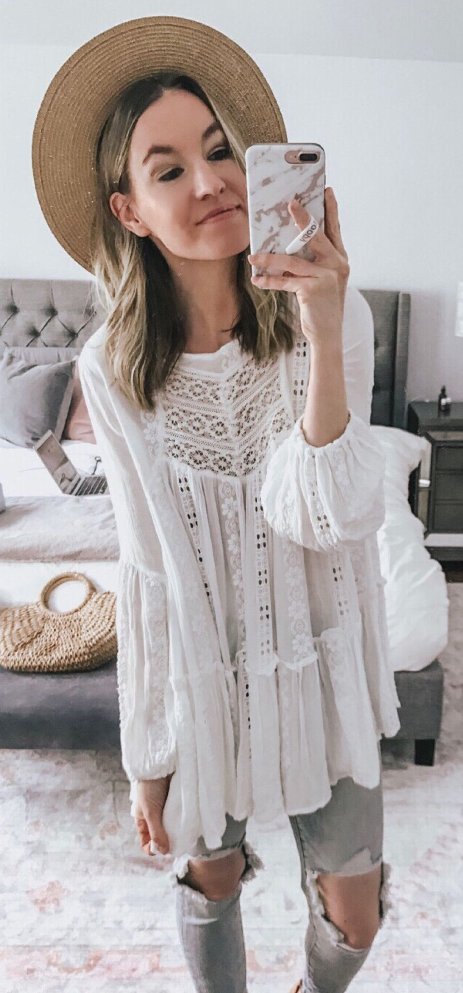 white floral long sleeve dress #spring #outfits