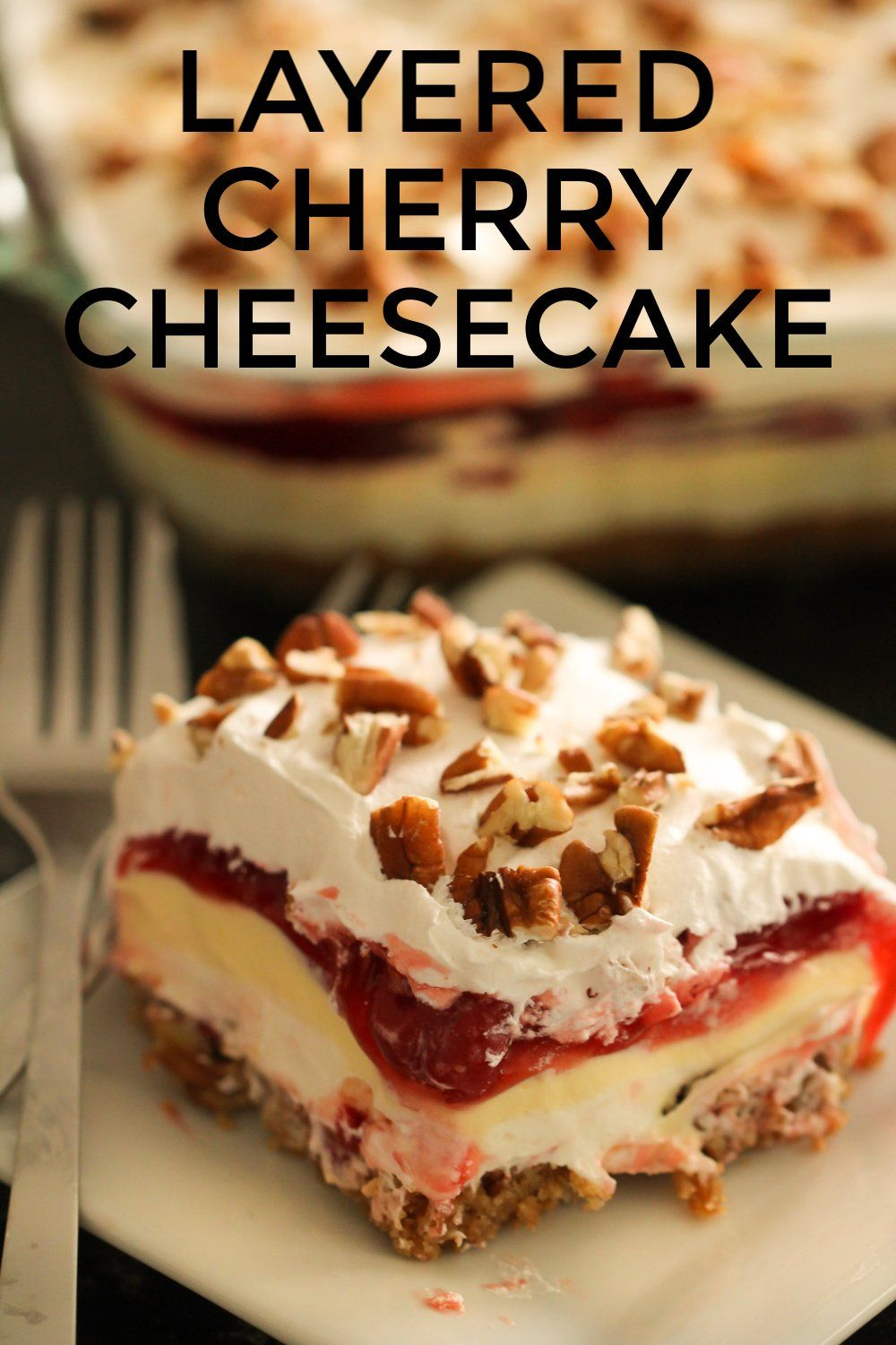 Layered Cherry Cheesecake from SixSistersStuff.com