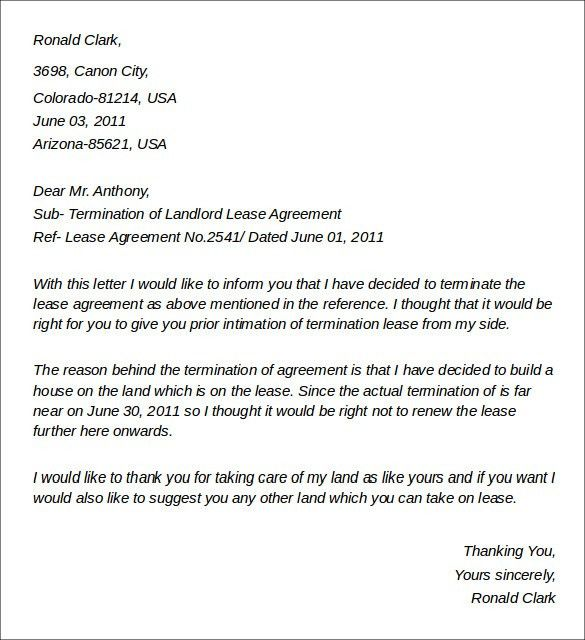 Letter To End Lease Agreement Lease Termination Letter Templates - sample lease termination letter