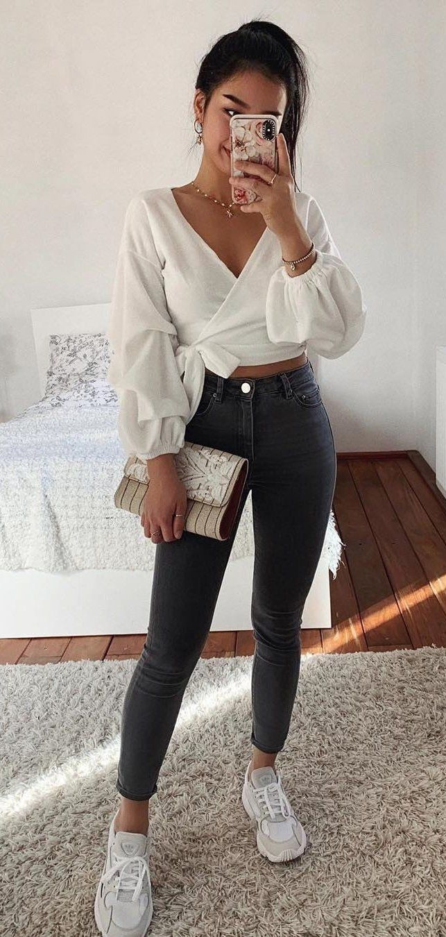 white long-sleeved crop tops #spring #outfits