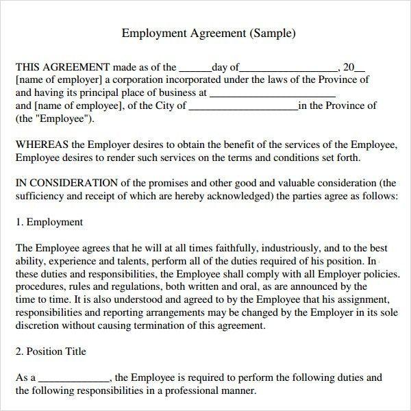Employment Agreement Template 10 Employment Agreement Templates - dentist employment agreement
